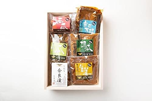 奈良漬 セット 木箱 (大) 詰め合わせ 個包装 瓜 守口大根 胡瓜 生姜 各一袋 ピンクの風呂敷包み