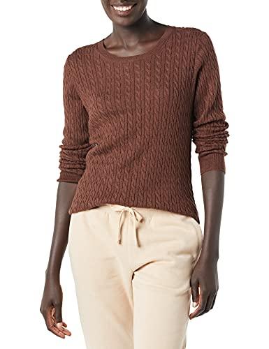 Amazon Essentials Lightweight Cable Crewneck Sweater Maglione, mélange Marrone Scuro, XS