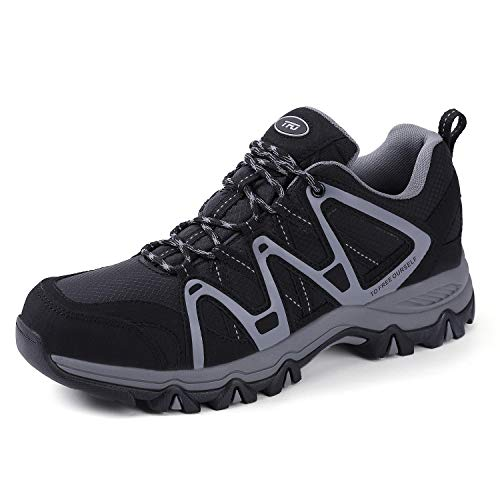 TFO Men's Breathable Walking Hiking Shoe Outdoor Running Backpacking Athletic Trekking Sneaker Black/Grey