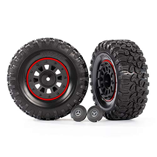 Traxxas Reifen auf Felgen schwarz (2) (benötigt #8255A Lange Radachs