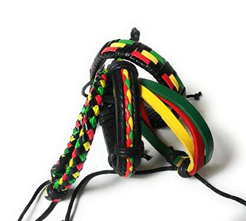 Wigwam Rasta Bob Marley Armband aus Leder, gewebt, 4 Stück