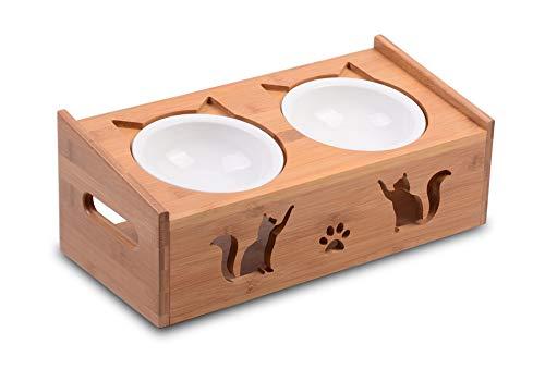 Supremery 2X Futternapf Katze mit erhöhter Halterung - Futterstation 2X Keramiknapf für Katzen Hunde - Keramik Fressnapf Set Futterbar mit Bambus Holz Halterung