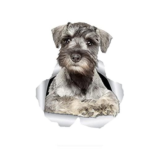 MDGCYDR Lustige Autoaufkleber 25Cm 3D Neugieriger Schnauzer Hund Wandtattoo Hund Aufkleber Aufkleber Für Wände Kühlschrank Autos Toilette Gepäck Skateboard Laptop
