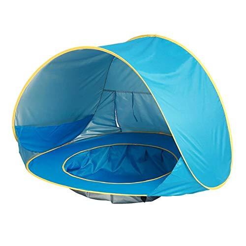MINMINA Tienda De Campaña Automática Pop-Up Bebé Playa, Bebé Portátil Sombrilla Piscina UV Protección Solar Sombrilla Parasol Family Garden Camping Picnic Pesca,Blue,120 * 80 * 70CM