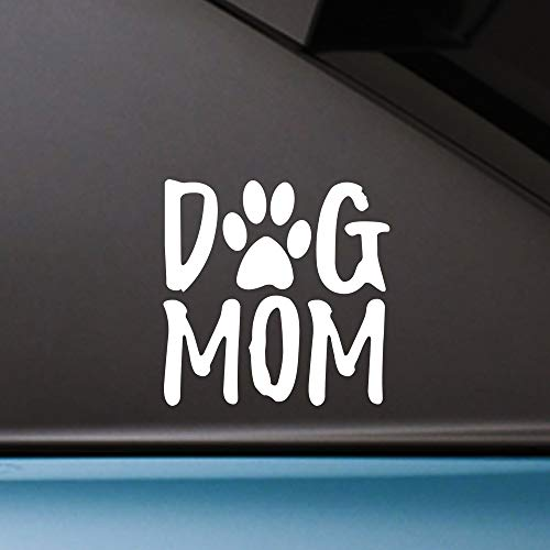 Besby 2pcs Dog Mom Car Decal, 5'' Lovely Puppy Paw Print Bumper Sticker, Die Cut Vinyl Stickers, White, for Car Laptop Window