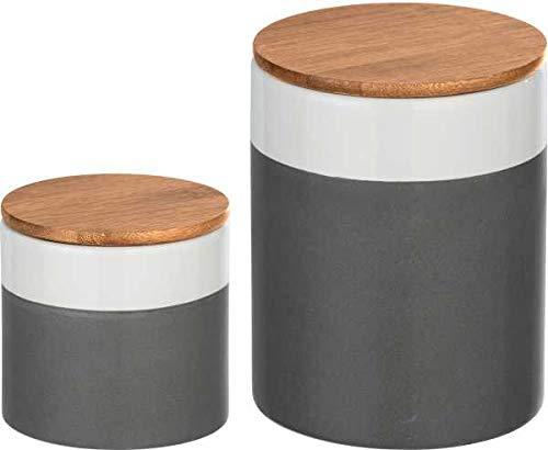 WENKO 2-er Set Keramik Vorratsdosen mit luftdichtem Bambusdeckel, Aufbewahrungsbehälter für die Küche 0,45L / 0,75L