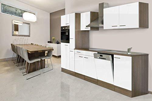respekta Bloc de cuisine encastrable 310 cm imitation chêne York blanc four vitrocéramique lave-vaisselle armoire pharmaceutique