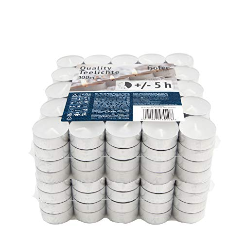 Hofer Kerzen Teelichte tealight, in Metallhülsen, bis zu 5h Brenndauer, Durchmesser 38 mm, weiß - Pack a 200 Stück (200-er Karton)