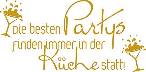GrazDesign 620574 Muurtattoo keuken party's spreuk | Wall woorden voor eetkamer en keuken achterwanden | zelfklevende folie 81x40cm 820 Mustard