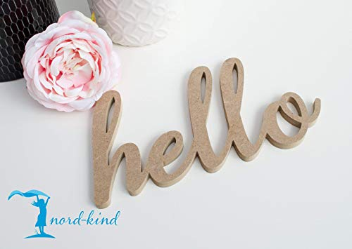 hello II Holz 3D Schriftzug Spruch Wort Wanddeko Dekobuchstaben DIY Tür Holz Deko