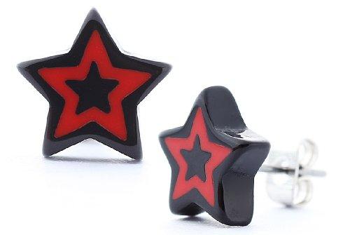 DonDon - Pendientes unisex con diseño de estrella y tuerca de acero inoxidable, color negro y rojo