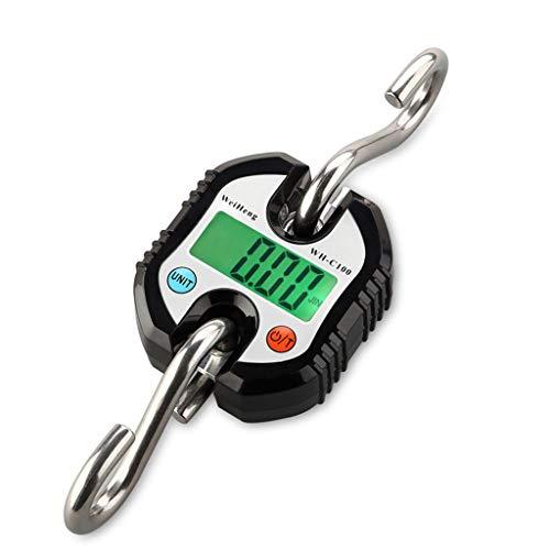 RUJIXU Báscula de cocina de 150 kg x 50 g digital para colgar, gancho de acero inoxidable, báscula electrónica para equipaje, herramienta de pesaje de equilibrio (color: negro, tamaño: 100 kg/50 g)