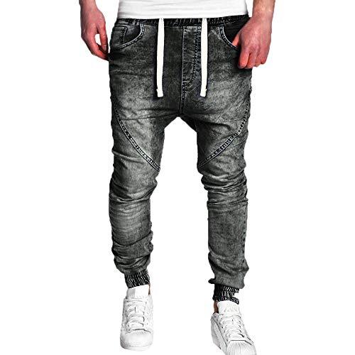 Geili Herrenmode Jeanshose Jungen Elastischer Bund Skinny Jeans Laufhosen Gummizug Lang Jeans Hosen Herbst Slim Fit Stretch Denim Hose Vintage Wash Hip Hop Arbeitshose