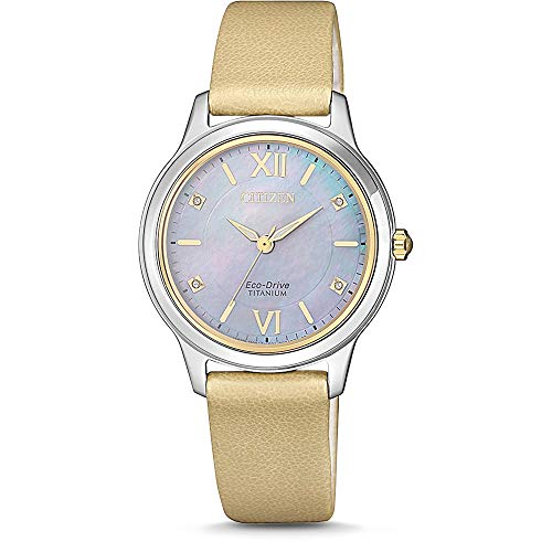 CITIZEN Damen Analog Eco-Drive Uhr Super Titanium Perlmuttzifferblatt Gold EM0724-17Y