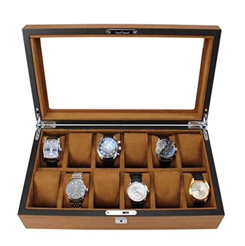 AMAFS Caja de Reloj Organizador de Rejillas 5/12/18 Caja de Reloj de Madera de Gran Capacidad Cerradura y Tapa de Cristal Beautiful Home