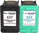 Ink E-Sale Remanufacturado 337 343 para Cartuchos HP 337 HP 343 Compatibles con Photosmart 2500 2570 2573 2575 C4140 C4150 C4180 C4190 Officejet 6300 6310 6315 Deskjet D4160 5940,1 Negro 1 Tricolor