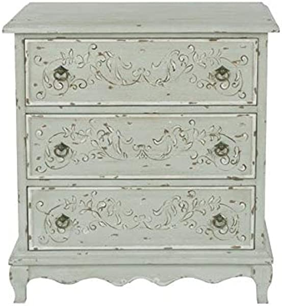 PRI Home Fare Hand Painted 3 Drawer Accent Chest In Weathered Sage Green