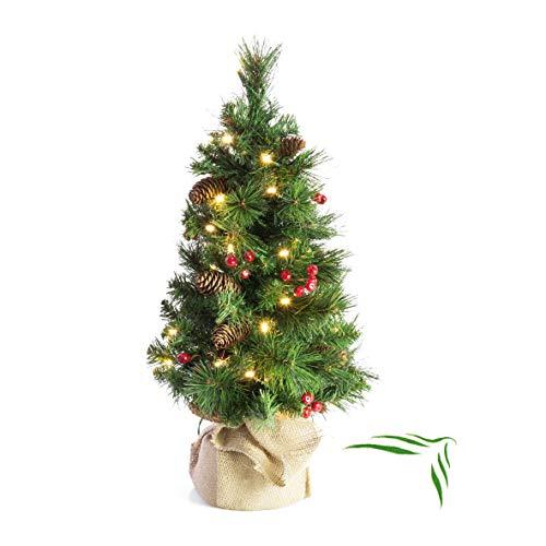 artplants.de Künstlicher Weihnachtsbaum BUKAREST, 35 Led's, geschmückt, 80 Zweige, 60cm, Ø 35cm - Kunst Tannenbaum - Deko Christbaum