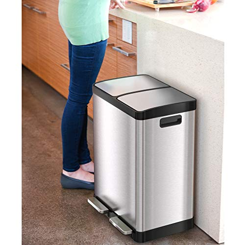 iTouchless 16 Gallon Kitchen Dual Step Trash Can & Recycle Bin, Stainless Steel, includes 2 x 8 Gallon (30L) Removable Inner Buckets, Soft Close Lid and Airtight, for Home, Office, Business