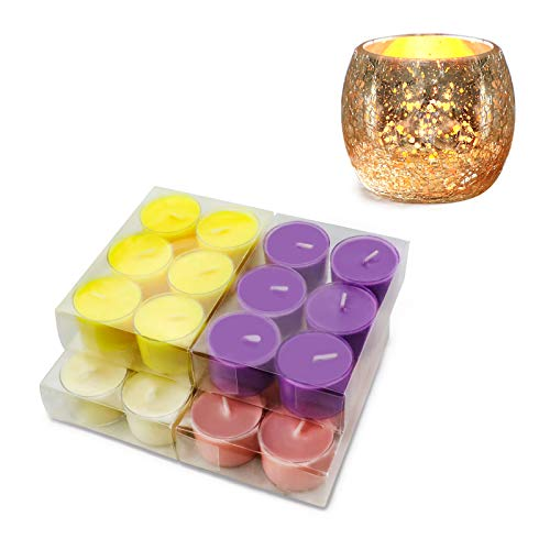 Tealights Candles, Scented Candles with Gold Tea Light Holder 8H Long Lasting Burning Soy Candles, Aromatherapy Candles for Home Scented 24 Pack