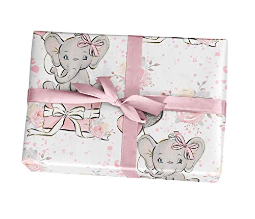 Pink Elephant Baby Shower Wrapping Paper Gift Sheets,15 FT