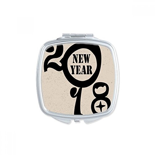 DIYthinker Noir Bonne année 2018 Big Dog Place Makeup Compact Miroir de Poche Portable Mignon Petit Miroirs Main Cadeau Multicolor