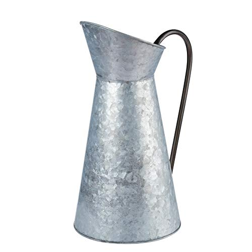 Galvanized Vase - Silver Metal Vase Pitcher with Handle Vintage Jug Watering Can Farmhouse Style Decor for Home Garden 12 Inches Tall