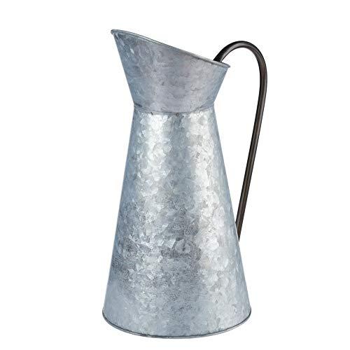 Juvale Regadera rústica Decorativa, jarrón con Acabado galvanizado, jarrón con asa para decoración del hogar,...