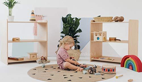 Mami | Estantería Montessori de madera para niños | Dormitorio de niños | Porta objetos juguetes de peluche libros | Estantería para niños | 3 estantes