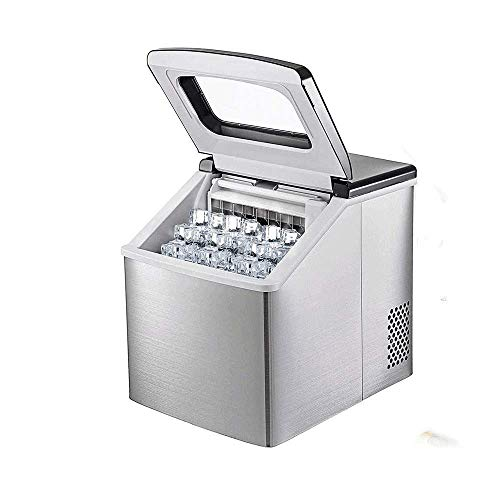 AYDQC Ice Maker, Stainless Steel Ice Maker Machine Counter Top Home, Ice Making Cycle 13-25 mins, 40 lbs (18 kg)/24H, for Kitchen Home Bars peng fengong