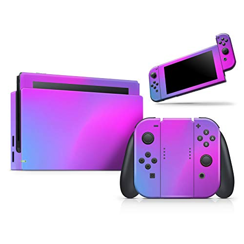 Design Skinz Neon Holographic V1 - Skin Decal Protective Scratch-Resistant Removable Vinyl Wrap Kit Compatible with The Nintendo Switch Console, Dock & JoyCons Bundle