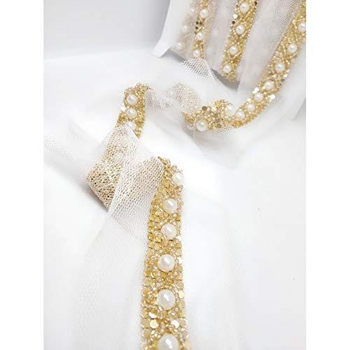 TOMASELLI MERCERIA 50 cm haarband sieraden parels wit latte rocailes strass metaal plat goud hoogte 15 mm