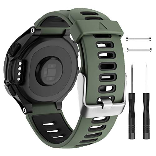 ISABAKE Watch Band for Garmin Forerunner 735XT/230/220/235/620/630,Compatible with Garmin Approach S20/S5/S6,Soft Silicone Replacement Wristbands with Metal Buckle,One Size (Army Green)