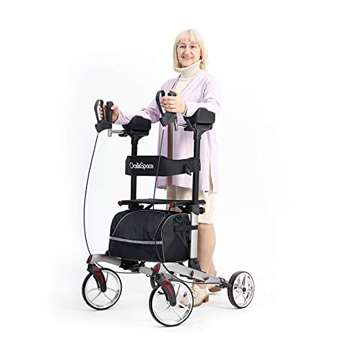 """OasisSpace Upright Rollator Walker - Tall Rollator Walker with 10"""" Front Wheels Stand Up Walker with Backrest and Pad Armrest for Senior (Grey)"""