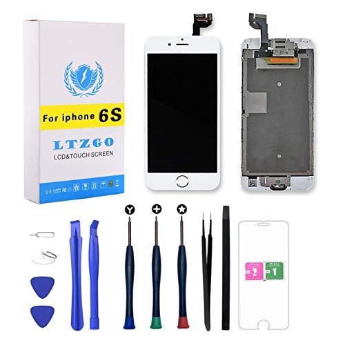 LTZGO LCD Touchscreen Für iPhone 6S Weiß Display Ersatz Bildschirm Display Reparaturset Digitizer Assembly mit Werkzeuge Inklusive Homebutton, Hörmuschel, Frontkamera, Näherungssensor
