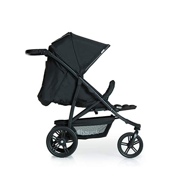 Hauck Rapid 3 Wheel Pushchair up to 25 kg with Lying Position from Birth, Small Foldable with One Hand, Height Adjustable Push Handle, Large Basket - Black Hauck LONG USE: The pushchair is suitable from birth (in lying position or in combination with the separate 2-in-1 Carrycot) and loadable up to 25 kg (seat unit 22 kg + basket 3 kg) EASY TO FOLD: This stroller folds away compactly and can be then carried with one hand only by the release loop COMFORTABLE: For the kid thanks to backrest and footrest adjustable into flat position, as well as for parents thanks to height-adjustable handle and large shopping basket 10