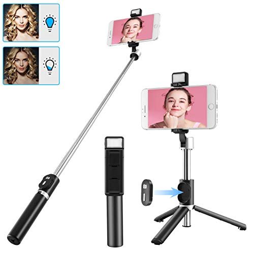 2021 Newest Selfie Stick for iPhone with LED Light Wireless Bluetooth Tripod Selfie Stick with Detachable Remote Compatible with iPhone 12/11/10/XR/X/Pro and Android Smartphone