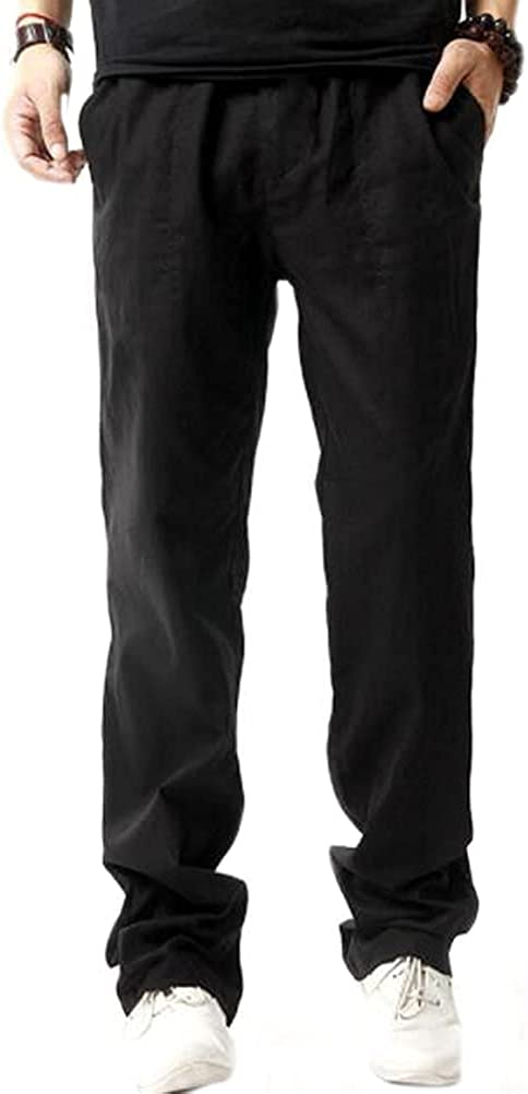 Men's Linen Yoga Pants Casual Loose Elastic Waist Jogger Pants with Drawstring