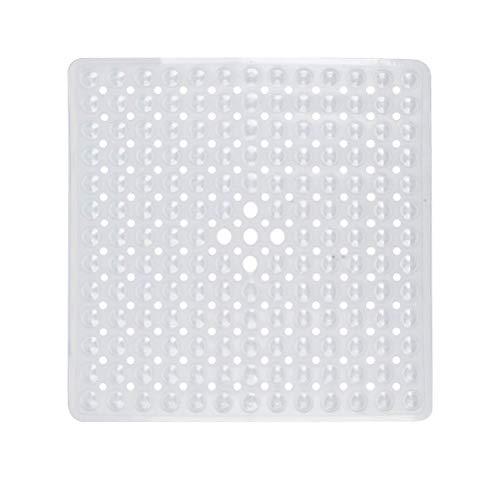 FOCCTS Alfombrilla de Ducha Cuadrada de Goma Antideslizante antimoho antibacteriana Lavable a máquina con Ventosa con Agujeros de Drenaje 53 x 53 cm (Blanco)