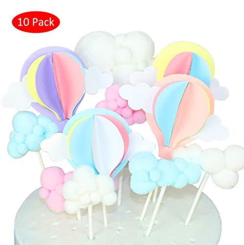 DreamJing 10 Stück Wolken-Tortenaufsätze, dreidimensionale Heißluftballon-Aufsätze, Kuchendekorationen, Geburtstags-Dessert-Topper für Hochzeit, Geburtstag, Babyparty, Party