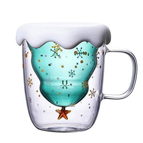 LOL LO Tazas de cristal de doble capa para árbol de Navidad, para cóctel o vino