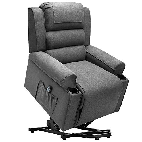 Waleaf Electric Recliner Chair for Elderly, Power Lift Chair with Side Pocket, Linen Fabric Single Sofa with 2 Cup Holders, Reclining Chair with 4 Removable Cloth Mats for Living Room (Dark Grey)