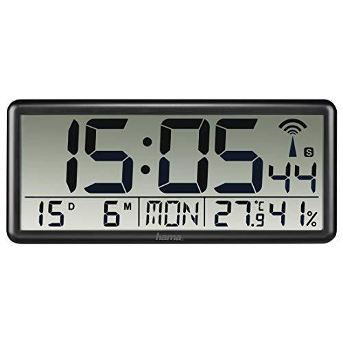 """Hama Wanduhr """"Jumbo"""" mit DCF-Funk (digitale Funkuhr mit Thermometer und Hygrometer, ideal als Küchenuhr, große Uhr mit Datum, gut ablesbar, zum Hängen und Stellen, inkl. Batterien) schwarz"""