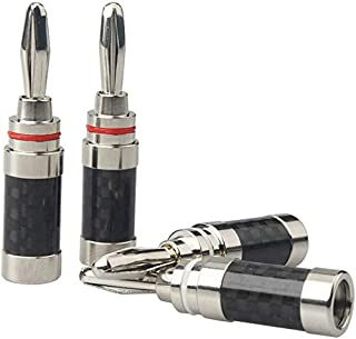 HiFi Home Audio Connector Carbon Fiber Rhodium Plated Banana Plug for DIY Speaker Cable Speaker Wire Adapter (8 Piece) (Bl...