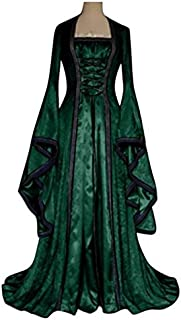 YXJC Halloween Costumes for Women, Medieval Dress Halloween Costume for Women, Gothic Halloween Costume Women for Retro Magic Robes Aristocratic Princess Palace Party (Color : Green, Size : M)