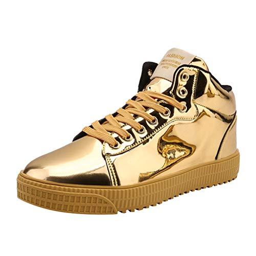 Fannyfuny Zapatillas Deportivas Hombres Zapatos Casuales High-Top Sneaker Antideslizante Zapatos de Deporte Al Aire Libre Ligeros Asfalto Zapatos para Correr Transpirable Reflectivo