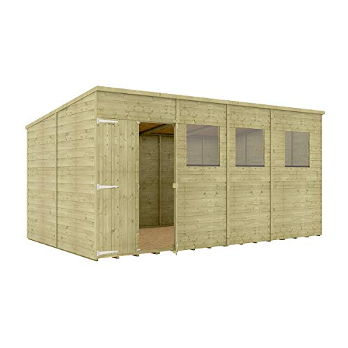 Project Timber 14 x 8 Pressure Treated Hobbyist Pent Shed Tongue & Groove Shiplap Cladding Construction Offset Door OSB Floor Wooden Garden Shed 4.26m x 2.43m