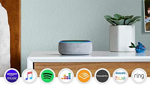 Echo Dot (3ème génération), Reconditionné Certifié, Enceinte connectée avec Alexa, Tissu gris chiné