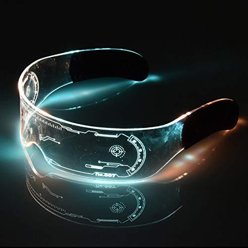 Cyberpunk LED-Leuchtbrille – perfekt für Cosplay und Festivals – Cybergoth – Cyberpunk Brille (bunt)