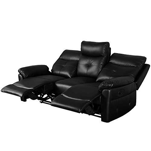 jeerbly Juego de sofá reclinable de piel sintética de lujo, sofá reclinable, suite, sillones, sillones, disponibles para el hogar, salón, sala de estar (3 plazas)